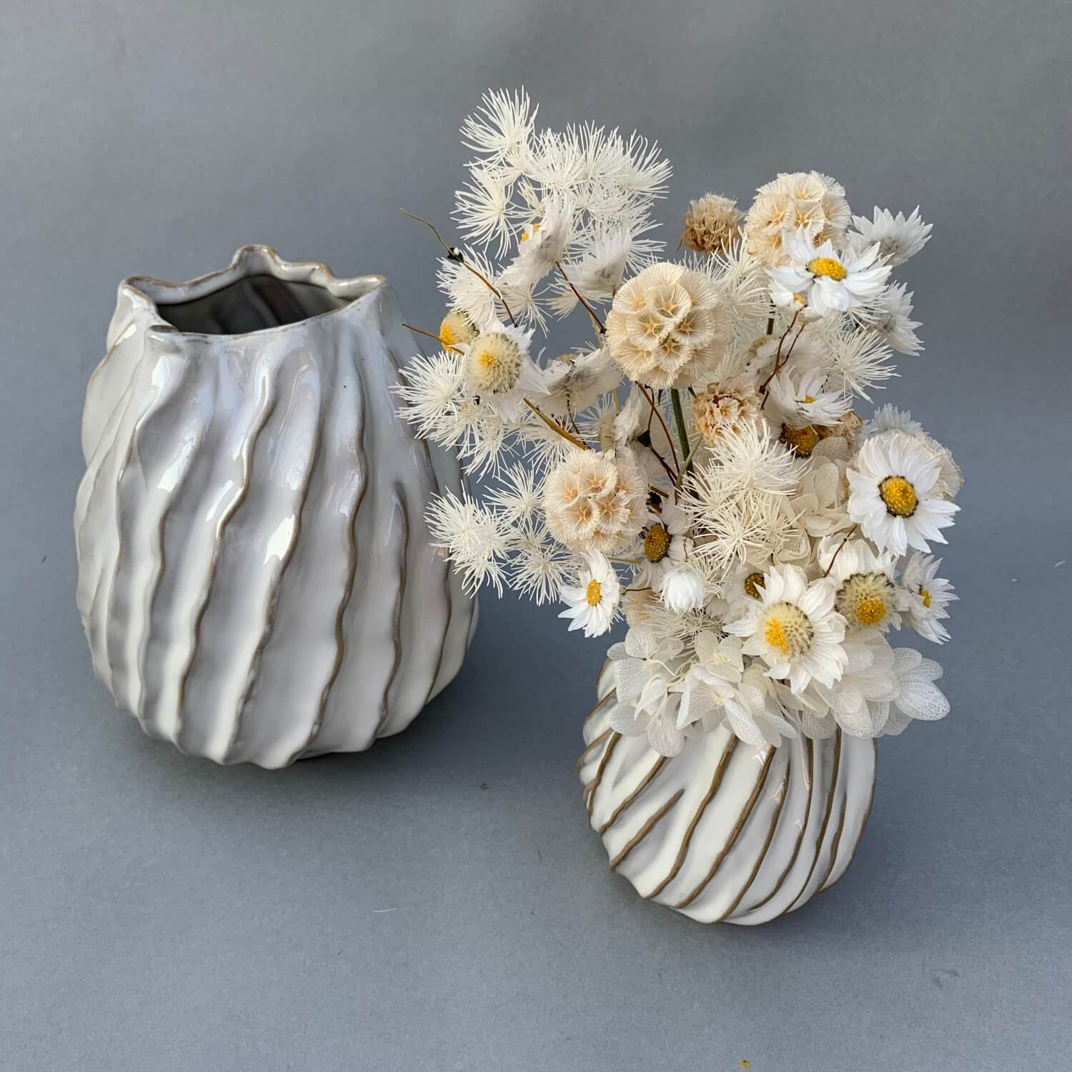 Ceramic Vases with Dried Posy